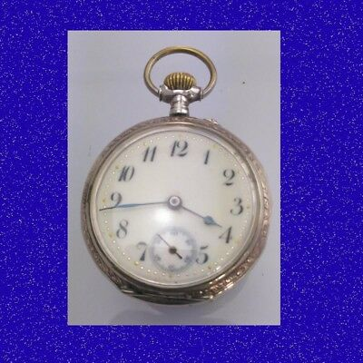 Pretty Edwardian Silver & Enamel Swiss LEpine Keyless Pocket Watch 1910