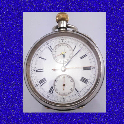 Vintage Silver Longines 23J Chronograph Officers Stop Pocket Watch 1914