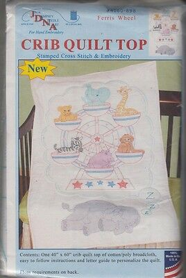 """1 Jack Dempsey """"Ferris Wheel"""" Stamped Cross-Stitch-Embroidery Crib Quilt Top"""