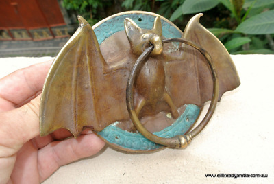 """Door Knocker BAT ring old front SOLID BRASS vintage old style green patina 7""""B"""