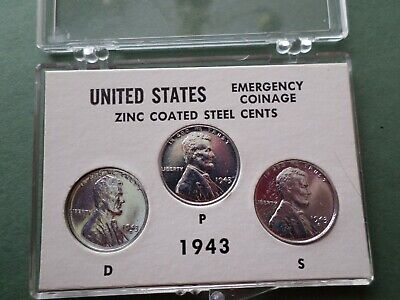 1943-P-D-S Lincoln Steel  Cent-- Year Set