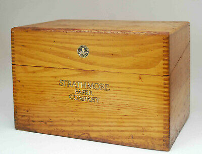 Antique Strathmore Paper Company Dovetailed Wood Wooden Box
