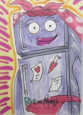Cryptozoic Rick and Morty Season 2 1/1 Sketch Card MRS. REFRIGERATOR by Pilch