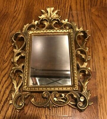 Antique Victorian Brass Ornate Picture Frame Easel Style Mirror Acanthus Leaf