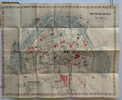 ca. 1900 MAP of COLOGNE GERMANY COLORFUL FOLDING ANTIQUE MAP PRE WW2 WALLED CITY