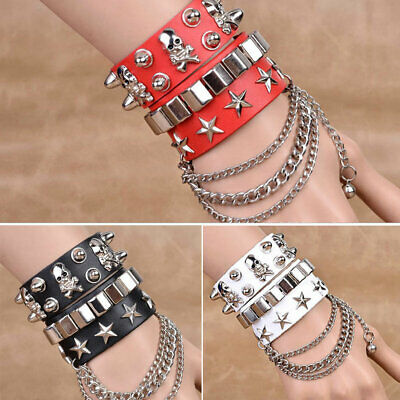 Bracelets & Bangles Unisex Punk Style Charm Bracelet Silver Color Spike Rivet Cone Black Leather Cuff Wristband Adjustable