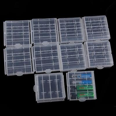 10pcs Hard Plastic Clear Case Cover Holder AA/AAA Battery Storage Box Kit