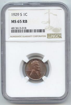 1929-S Lincoln Wheat Cent, NGC MS-65 RB, Red Brown, Blue Color!
