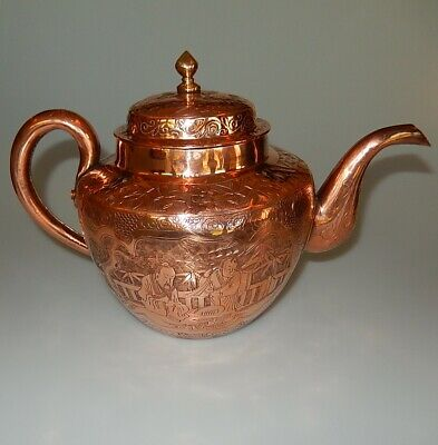 Chinese Antique Copper Teapot Etched Figural Bamboo Pattern