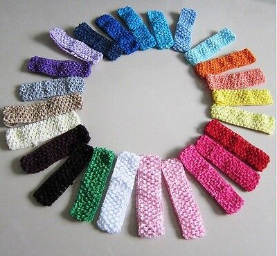 20X Mixed Fabric Crochet Headbands for Baby Girls Toddlers Adults Bow Clips