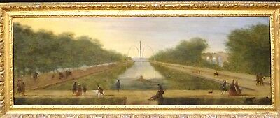 Large 18th Century French Figures In Chateau De Marly Gardens Fountain Landscape