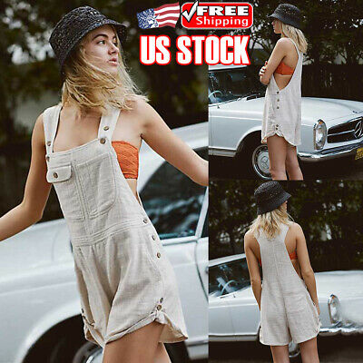 Womens Dungarees Harem Strap Pants Loose Jumpsuit Baggy Trousers Overalls Shorts