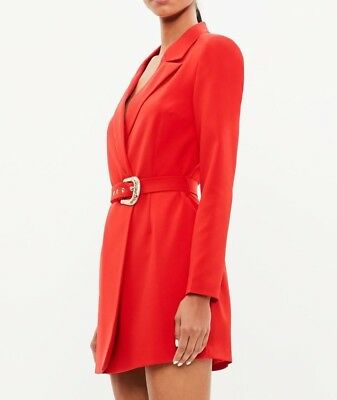 625b9d84e9ee MISSGUIDED Peace+Love Belted Red Blazer Dress UK 14 US 10 EU 42 (camg160