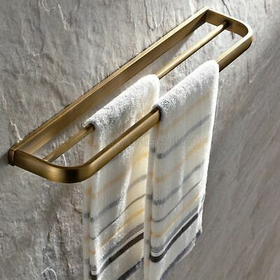 Antique Brass Towel Rail Holder Bathroom Wall Mounted Double Towel Rails Bars