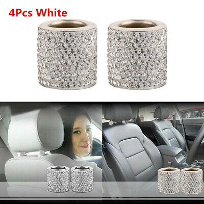 Universal 4Pcs Crystal Car Seat Headrest Collar interior Accessories Cylindrical