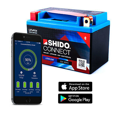Shido Ltx9 Lithium Connectez Batterie (Ytx9-bs) Smartphone Android IPHONE Ios