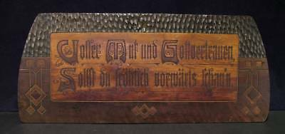Late 19th Early 20th C German Arts & Crafts Hand Carved Plaque, Signed SA Gothic