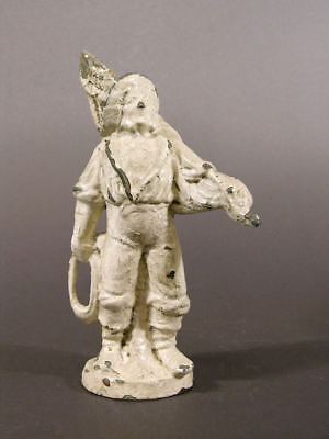 Mid to Late 19th C Spelter Fisherman Carrying Sail Old Mariner, Old Paint 9""