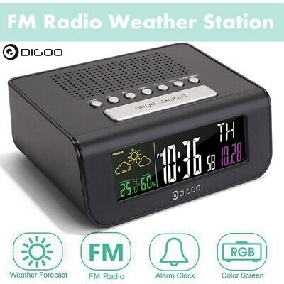 Digoo DG-FR100 Wireless Digital Alarm Clock FM Radio Weather Forecast Humidity