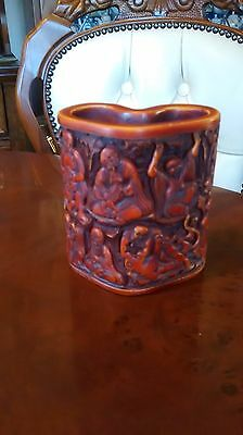 Vintage Cinnabar Chinese Brush Pot