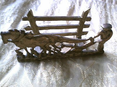 Vintage Brass Letter Rack of Farmer with Horse pulling a Plough.