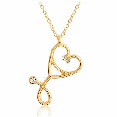 Charm Gold Hollow Heart Crystal Rhinestone Women Pendant Necklace Chain Jewelry