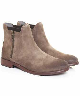 H by Hudson Grey Algoma Leather Flat Ankle Chelsea Suede Office Shoes Boots 3 36
