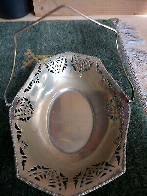 Elegant  Silver Plated (Epns) Cake,Biscuit,Pastry Plate/ Dish With Swing Handle