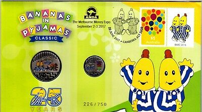 2017 Bananas in Pyjamas 25 Years Stamp & Coin PNC - ANDA Melbourne Edition