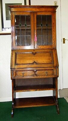 Vintage Art & Crafts Oak Bureau Bookcase With Stained Glass