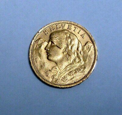 Circulated 1912 Swiss Gold 20 Francs With Nice Details