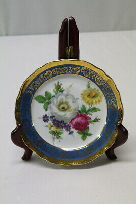 Vintage Limoges Decorative Floral Plate Aqua Blue And Gold Scroll Border
