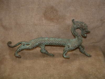 Very Rare Solid Metal Over One Foot Long !! Chinese Fire Dragon Figurine Statue