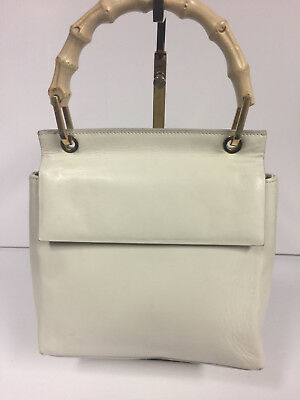 b544ed5ee71d Authentic Ivory Gucci Small Leather Bag, Bamboo Handles