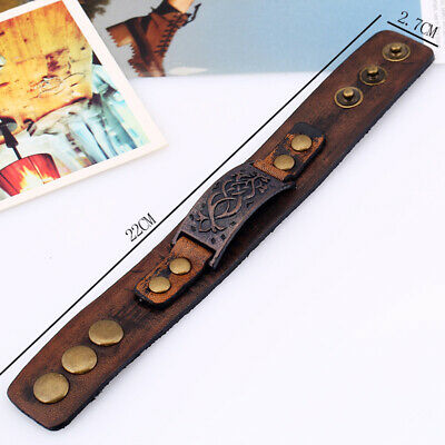 Leather Bracelet Wristband Boy Girl Alloy Faux Retro Cuff Adjustable Women's