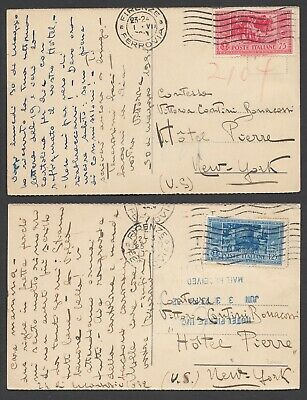 1931+1932 2 Cartoline Da Firenze/new York Col C.75 E L.1,25