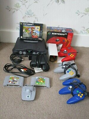 NINTENDO 64 N64 Console Bundle With 2 Games & 3 Controllers