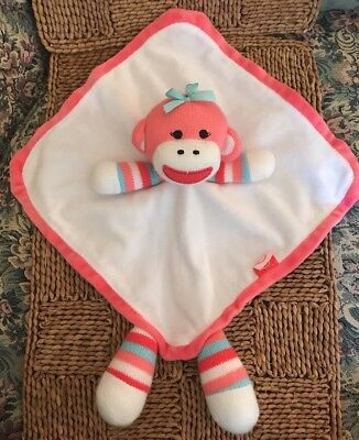 BABY STARTERS BLANKET SOCK MONKEY  ALL PURPOSE STAR RED CREAM BROWN PLUSH FLEECE