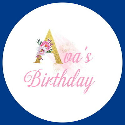 Birthday Party Pink Floral  Labels Personalised Gloss Celebration Stickers