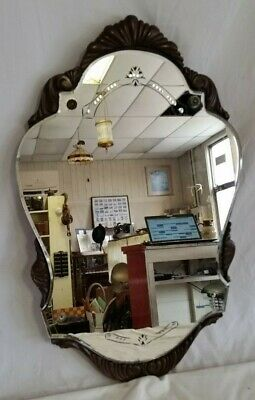 Antique Original Art Nouveau Curved Cut Glass Beveled Mirror,Carved Wood Frame