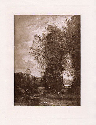 """Nice Jean-Baptiste-Camille Corot 1800s Antique Print """"Drinking Cows"""" Framed COA"""