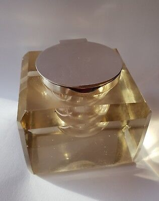 Very Large Antique Heavy Silver Square Chunky Glass Inkwell Ink Bottle