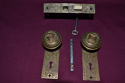 Antique Vintage Aesthetic Set Of Solid Brass Door Knobs Face Plates,  #24