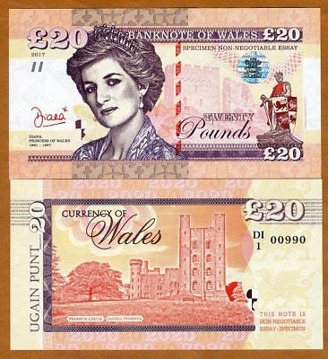Wales (Great Britain), 20 Pounds, 2017, Private Issue, UNC > Princes Diana