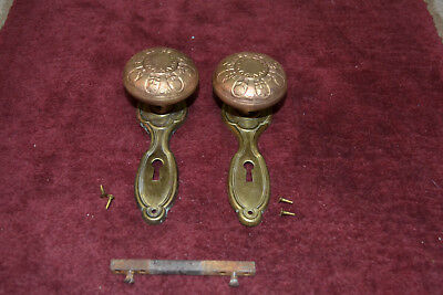 Antique Vintage Aesthetic 1 Set Of Solid Brass Door Knobs And Face Plates  #41