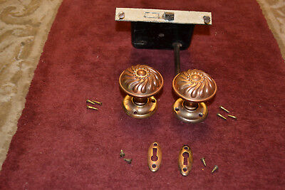 1 Set Of Antique Vintage East Lake Brass Door Knobs Face Plates Lock Set  #27