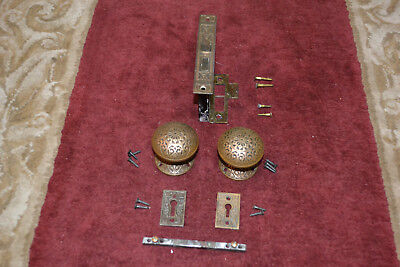 Antique Vintage Aesthetic 1 Set Of Solid Brass Door Knobs And Rosettes  #39