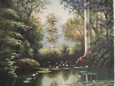 Original Antique early 20th Century Oil Painting Canvas Landscape signed M.K.