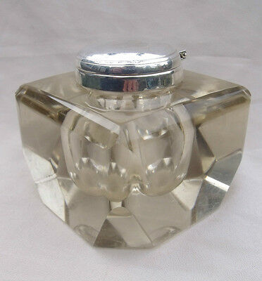 Rare Angled Heavy Solid Silver Chunky Glass Inkwell Ink Bottle