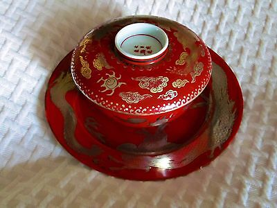 Antique Rice Bowl Set Japanese Porcelain Gold Silver Dragon AMAZING